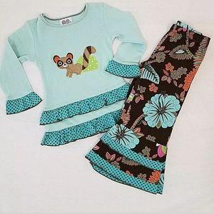 NWOT AnnLoren Autumn Flowers Racoon Outfit Sz2/3T